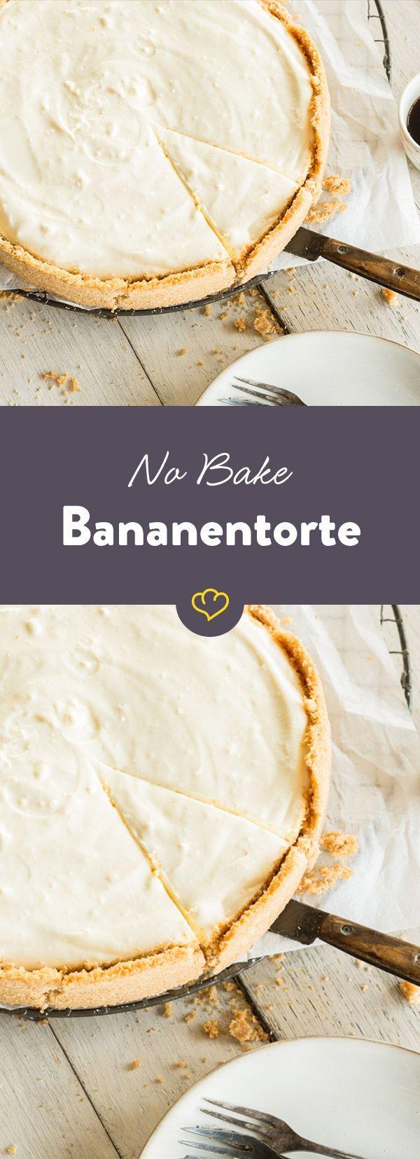 Crunchy Keksboden trifft fruchtige Bananencreme - dieser Tortentraum ist ruckzuck zusammengerührt, und das Beste - der Ofen kann dabei aus bleiben.