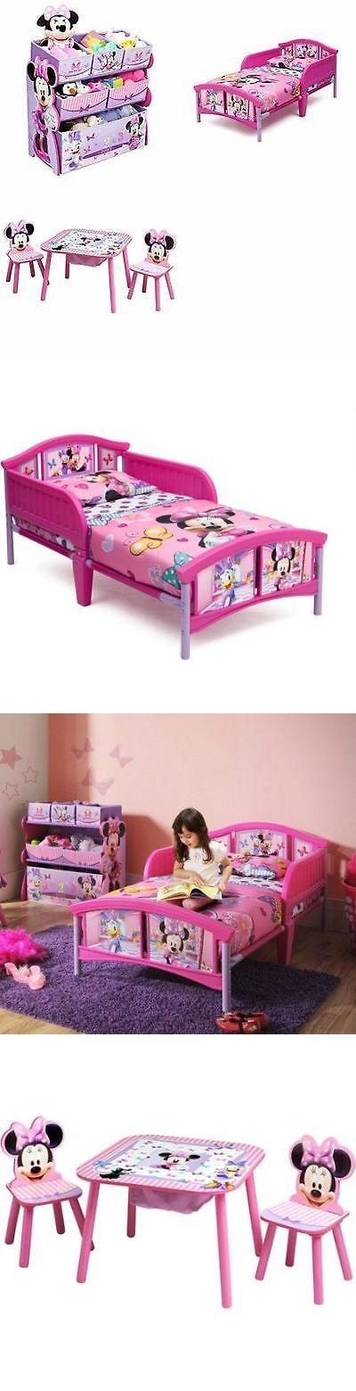 Kids Furniture: Cheap Bedroom Sets Disney Minnie Mouse Toddler Furniture Bed Toy Organizer Table BUY IT NOW ONLY: $135.53