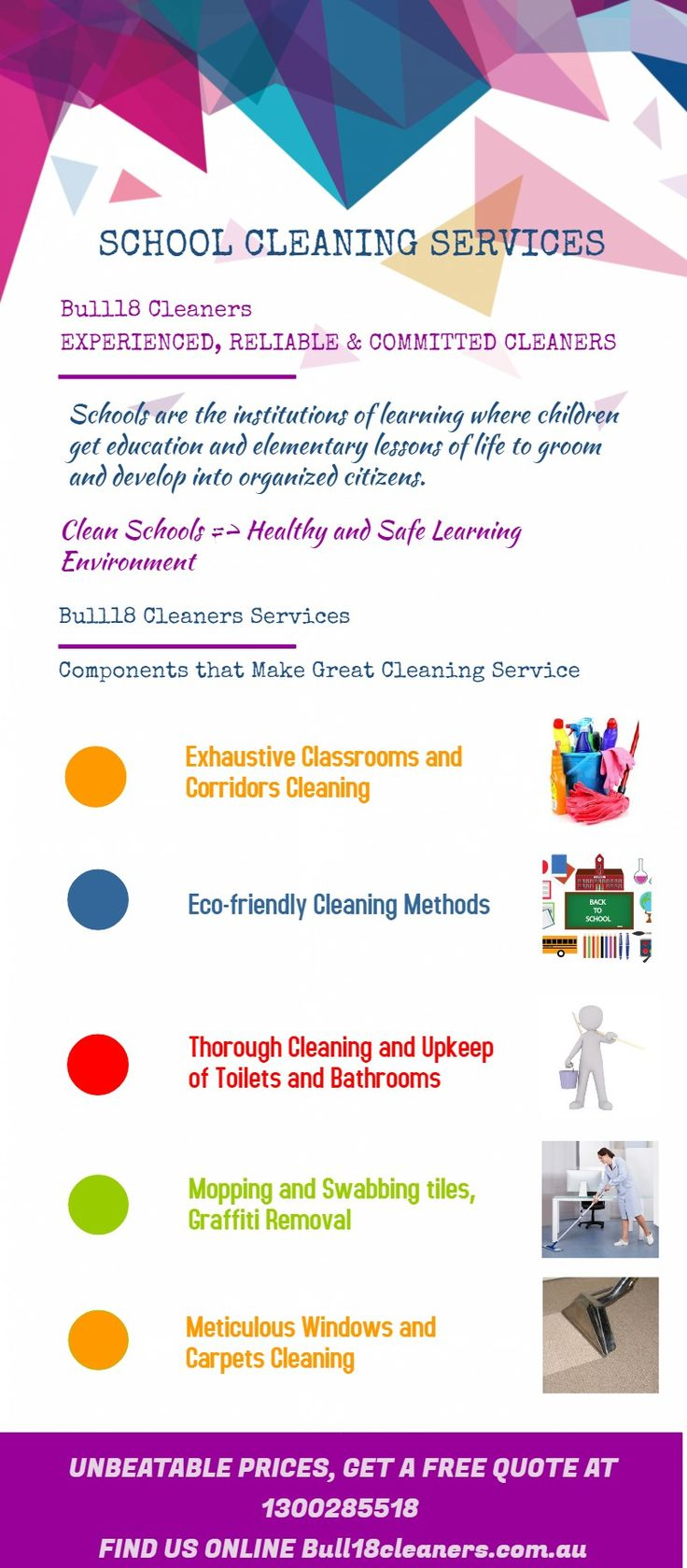 Schools are the institutions of learning where children get education and elementary lessons of life to groom and develop into organized citizens. Get school cleaning services with Bull18 Cleaners.