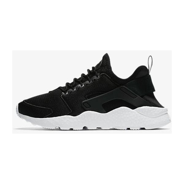Nike Air Huarache Ultra Breathe black/white/glacier blue/black... ($220) ❤ liked on Polyvore featuring shoes, sneakers, grey, sneakers & athletic shoes, tie sneakers and women's shoes