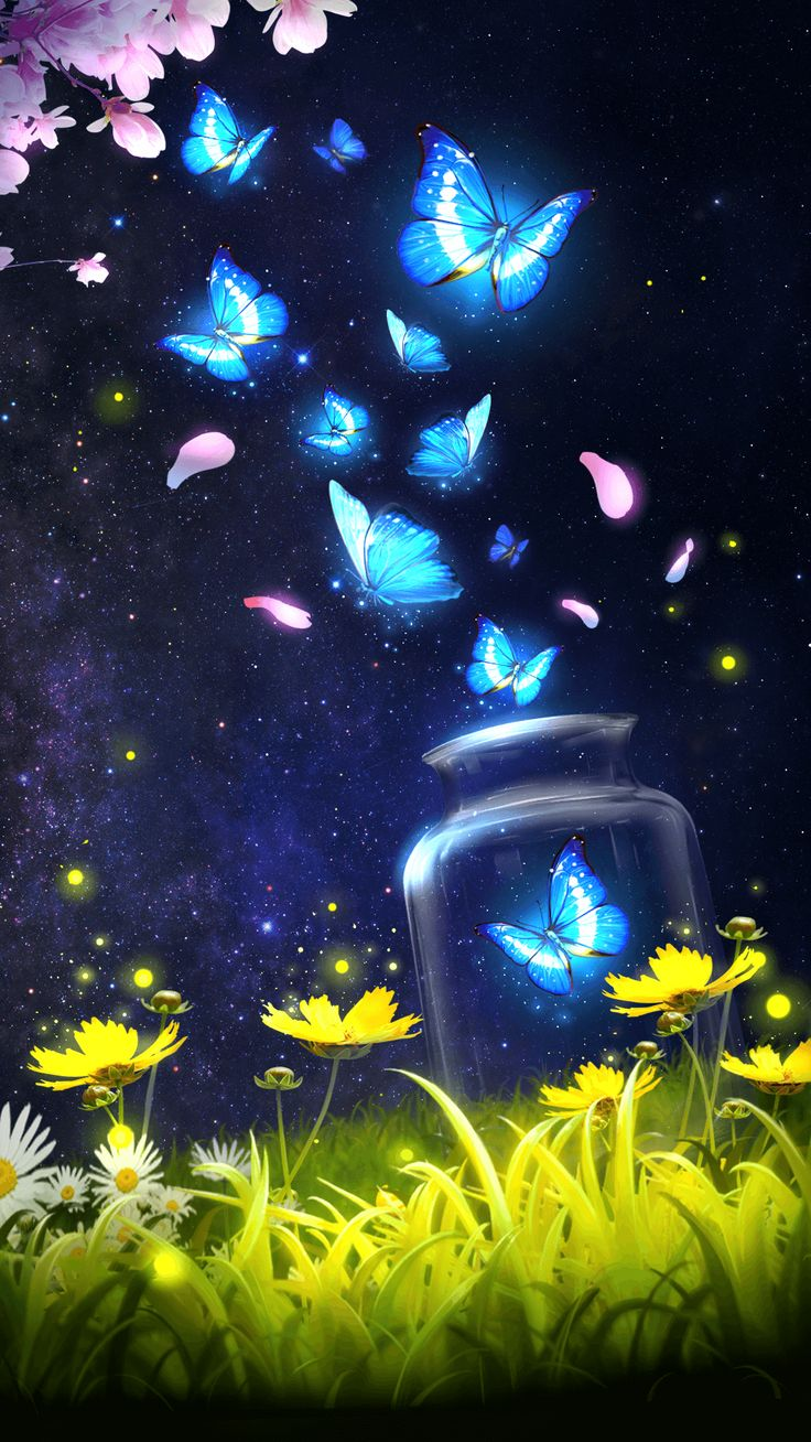 Android live wallpaper/background!Shiny blue butterfly live wallpaper with starry sky as background!mother chrysanthemum