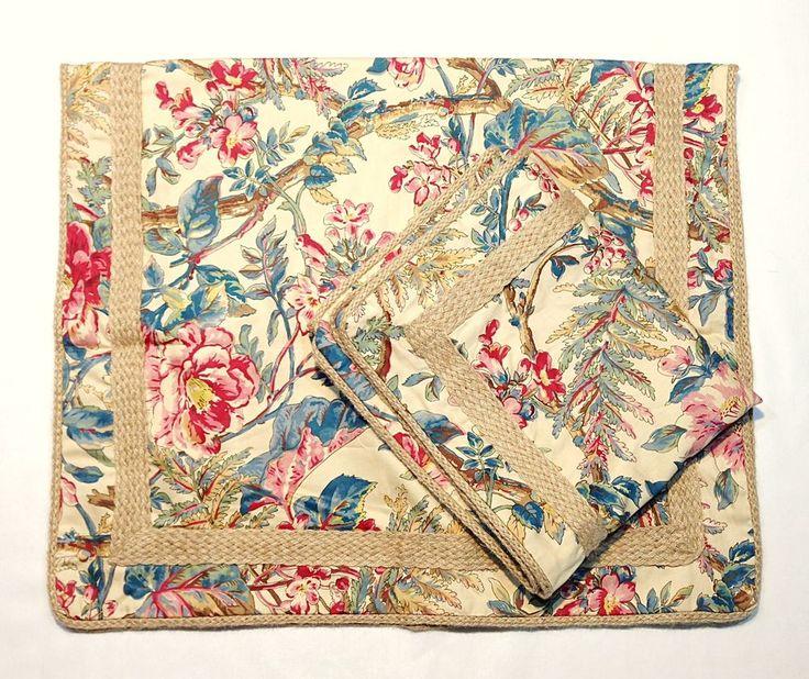 Ralph Lauren TANGIER Set of 2 King Size Pillowcases Shams Floral Tropical Twine #RalphLauren #Tropical