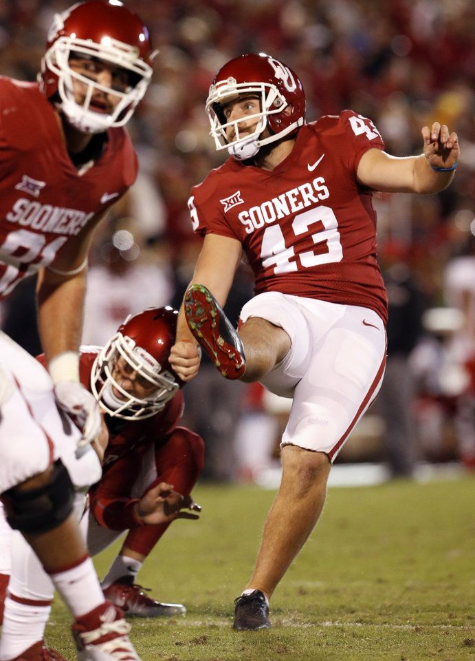 Austin Seibert kicks an extra poing during a college football game between the University of Oklahoma Sooners (OU) and the Texas Tech Red Raiders at Gaylord Family-Oklahoma Memorial Stadium in Norman, Okla., on Saturday, Oct. 28, 2017. Photo by Steve Sisney, The Oklahoman