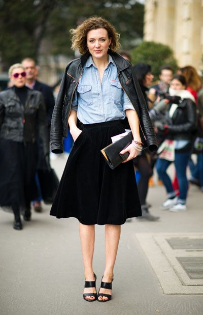 LOVE this outfit - it's so me.  chambray shirt + midi skirt and leather jacket worn off the shoulders