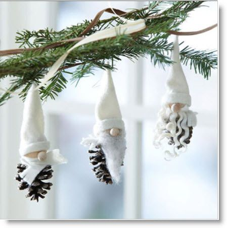 Gnomes  ♥ http://felting.craftgossip.com/2013/07/27/make-a-trio-of-pinecone-gnome-ornaments-winter-gnomes/