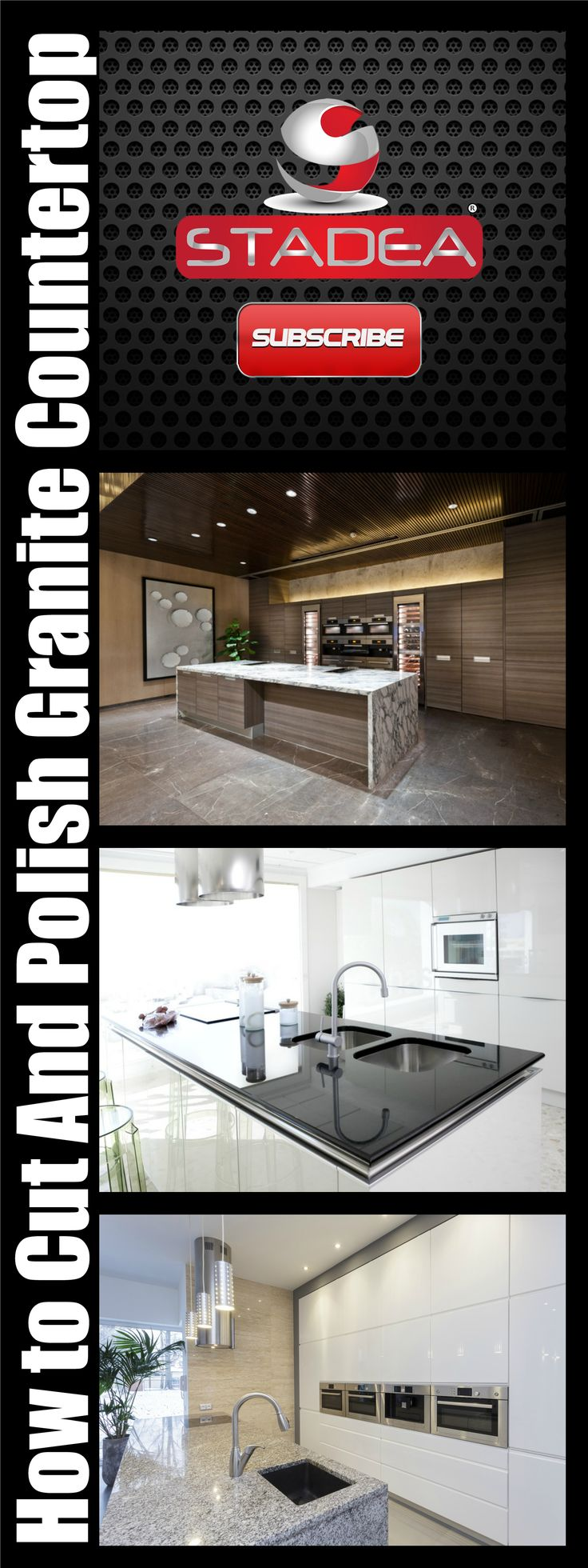 http://www.shopnsavemart.com demonstrates How to Cut And Polish Granite Countertop DIY. Step to step DIY video demonstrates cutting of granite slab using saw blades, polishing the edges using stadea dry diamond polishing pads.
