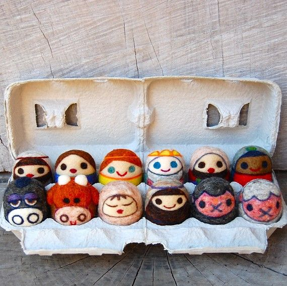 Needle Felted WOOLY Nativity Set Toys Made to Order by asherjasper, $240.00