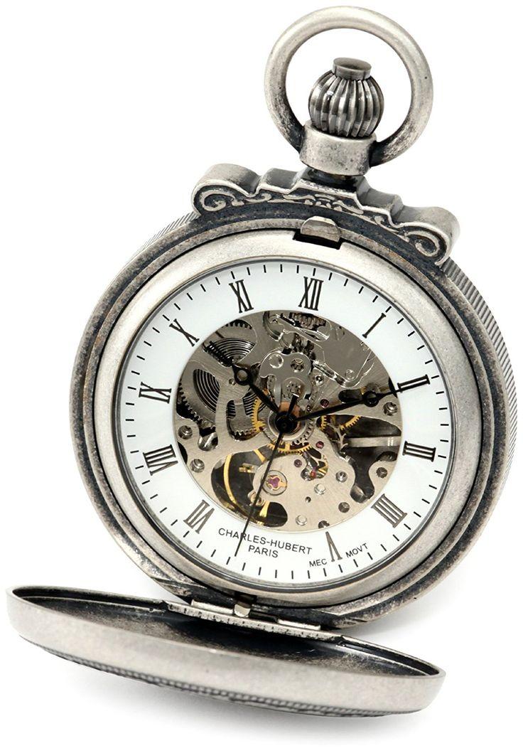 Amazon.com: Charles-Hubert, Paris 3866-S Classic Collection Antiqued Finish Double Hunter Case Mechanical Pocket Watch: Charles-Hubert Paris: Watches