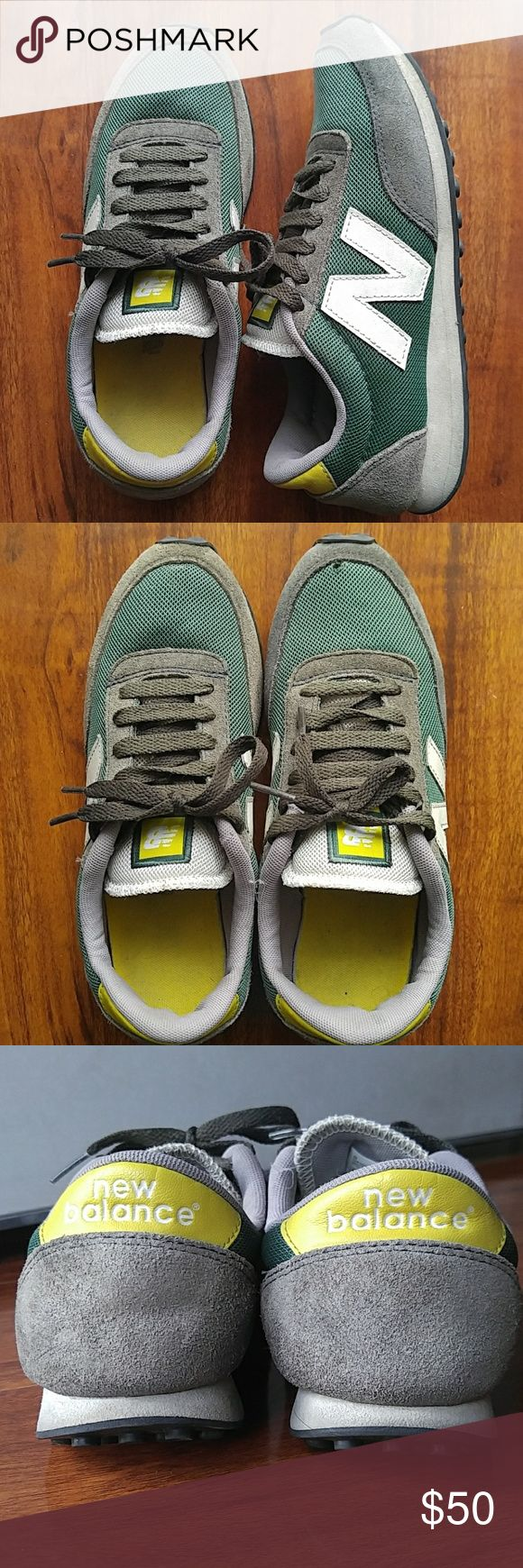 New Balance 410 Retro Running Sneakers Signs of gentle wear as seen in pics. Please inspects pics closely. Price reflects usage. Worn a few times. Minor tiny hole at right toe tip as seen in pic #2. No other rips/tears/peels/stains, other than minor dust stains from usage. Outer soles in good used condition. Removable inner padded soles. Hard to find color, purchased in UK in late 2000s. Fits women's sz 5.5-6. New Balance Shoes Sneakers