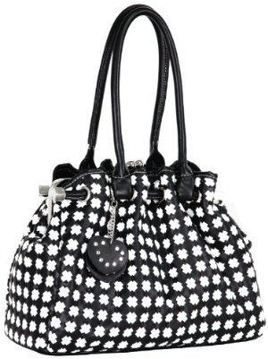 #mother's day gift idea  Timeless Chic Black / White Cross Woven Weave Kiss Clasp Framed Leatherette Satchel Hobo Shoulder Bag Handbag Purse  $29.99