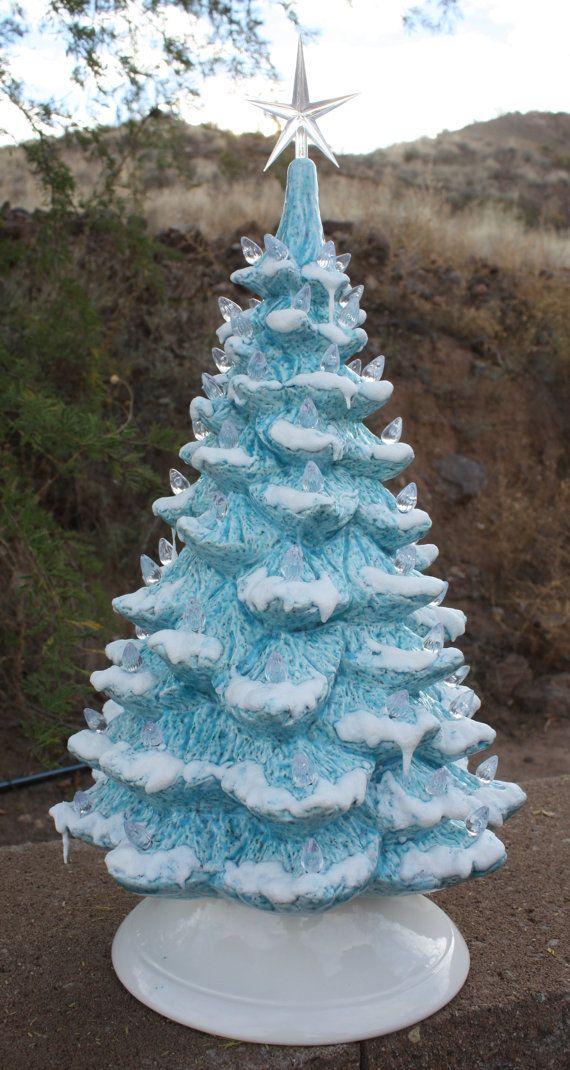"""19"""" Ceramic Christmas Tree, Vintage Blue Glaze, Lighted, Just Like Grandma/Mom's Vintage Mold Blank"""