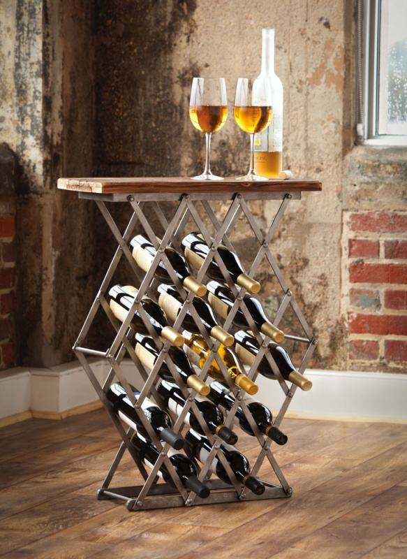 Wine Rack Metal : Industrial Metal Wine Rack w/ Wooden Top