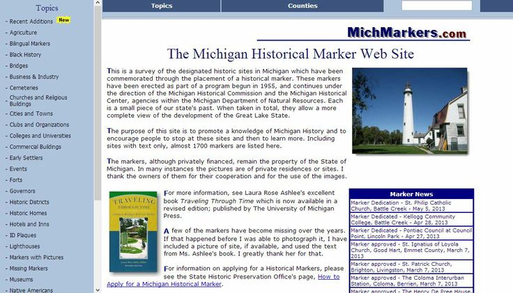 The Michigan Historical Marker Web Site http//www