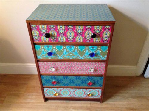 Vintage Upcycled Chest of Drawers Decoupaged Furniture Crystal Handles | eBay