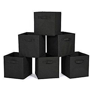 Amazon.com: Collapsable Storage Bins, MaidMAX Set of 6 Foldable Nonwoven Cloth Organizers Basket Cubes with Dual Handles for Gift, Black: Home & Kitchen