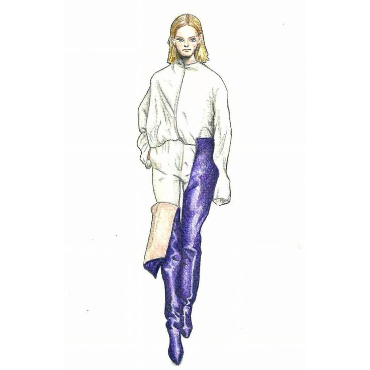 """New sketch inspired """"VETEMENTS"""" / water color and pencils /@vetements_official / #fashionillustration #fashion #illustration #watercolor #pencildrawing #sketch #drawing #vetements #mode #style #artistic #photography #fashionsketch #arte #violet #boots #vscocam #illustrazione #schizzo #bozza #fashionweek #woman #alternative #alternativestyle"""