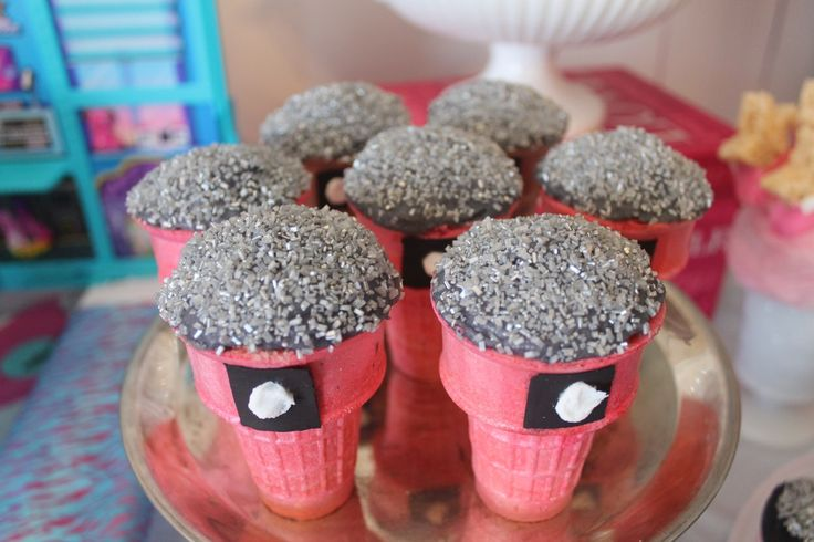 Microphone cupcakes in a cone with silver sprinkles!!!