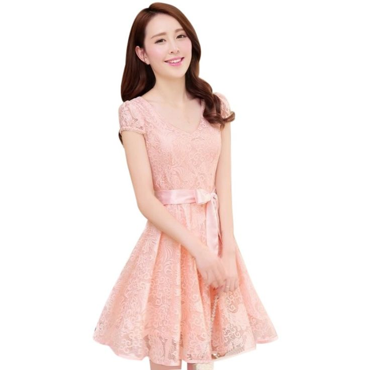 >> Click to Buy << Fashion Korean Womens Girl Casual V Neck Collar Short Sleeve Floral Lace Dress Women Clothes 2017 #Affiliate