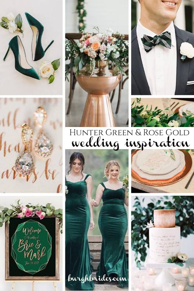 Seriously Stunning Hunter Green & Rose Gold Wedding Inspiration. See more wedding color ideas at burghbrides.com!