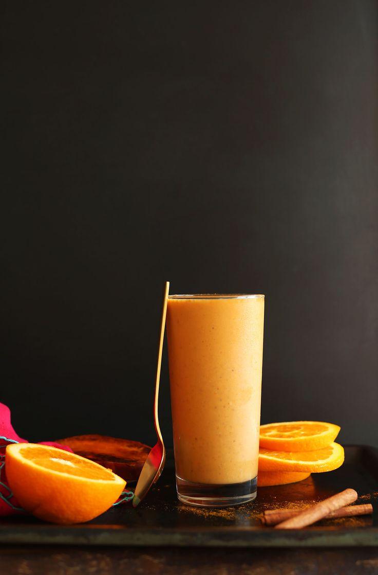 Creamy Sweet Potato Smoothie loaded with beta carotene, lycopene, vitamin C, fiber and protein! #vegan #glutenfree
