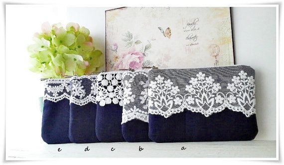 Bridesmaid lace purse in navy blue 1 item by KawaiiSakuraHandmade, ¥1300