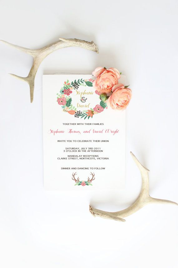 Wedding invitation wreath flowers deer antlers by Papierscharmants