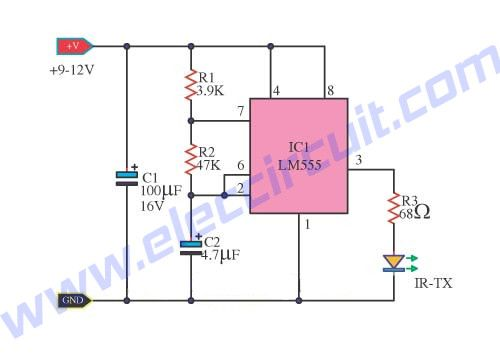 infrared remote control transmitters circuits electronic projectsthe schematic diagram of simple infrared transmitter using ic 555