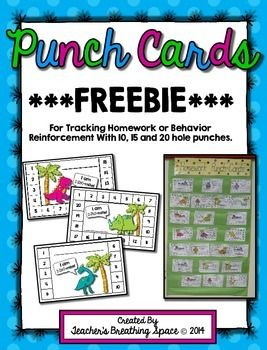 These cute little punch cards can be used to keep track of the homework activities your students turn in or as part of an individual behavior reinforcement plan.In my own classroom, we keep these cards in a special pocket chart with a hole-puncher close by.