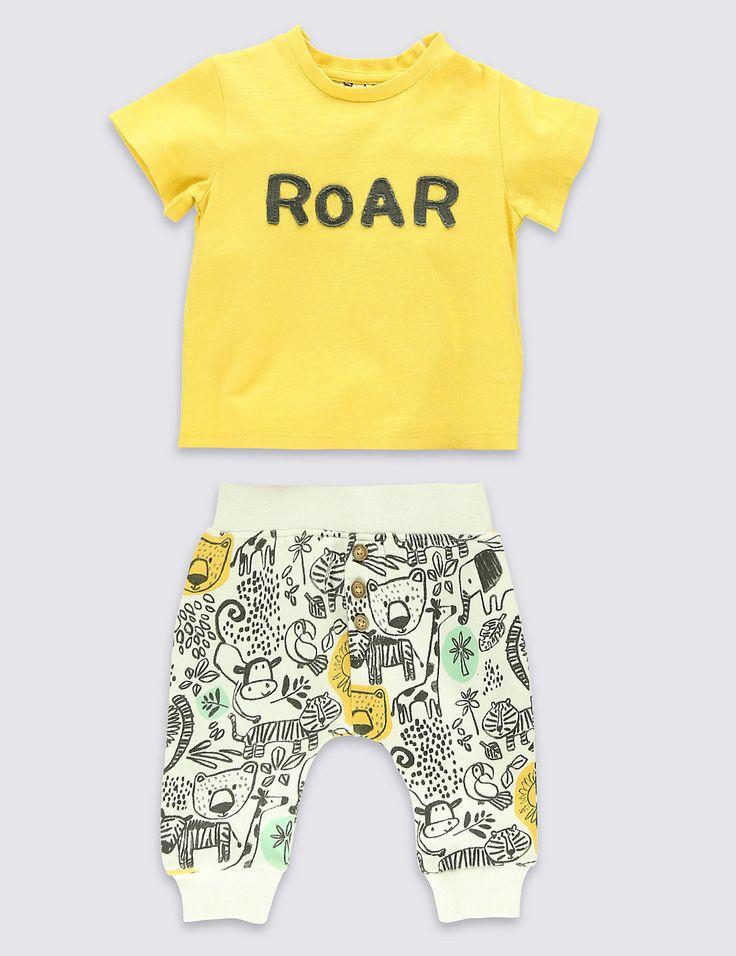 BUYMA.com 【M&S Baby】アップリケTシャツ&動物総柄ジョガーセットアップ(20956607)