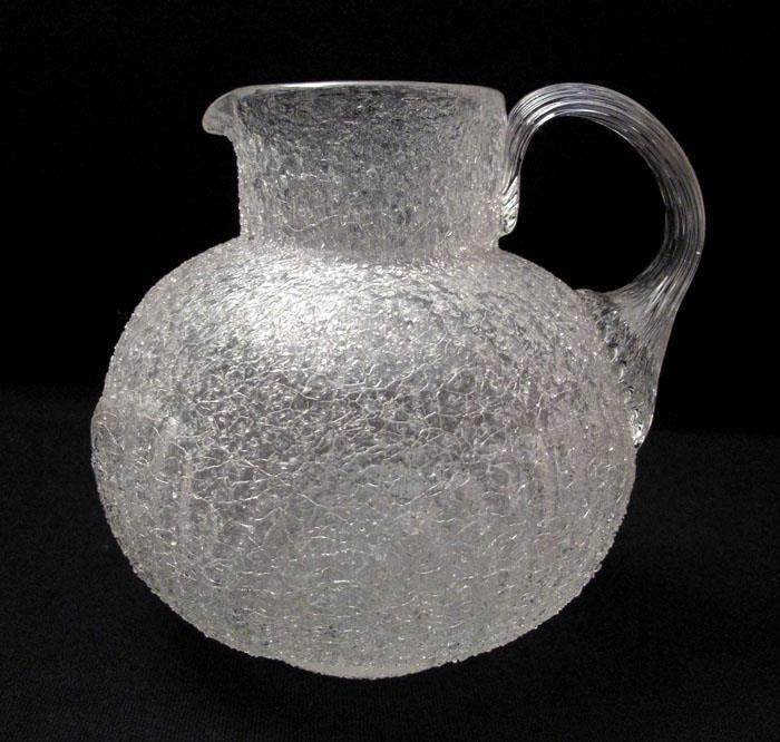 ANTIQUE VICTORIAN OVERSHOT CRACKLE GLASS JUG PITCHER - KRALIK