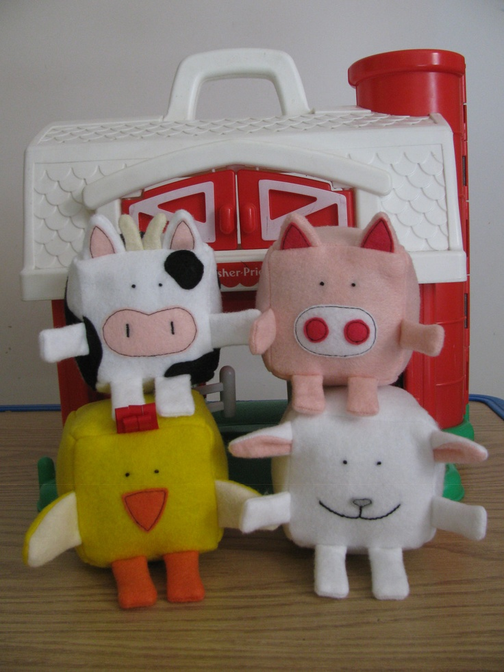 Felt Pattern - Barnyard animal collection - Felt Cubes/Blocks Plushie Toy Sewing Pattern - Make your own pig, sheep, chicken and cow blocks.