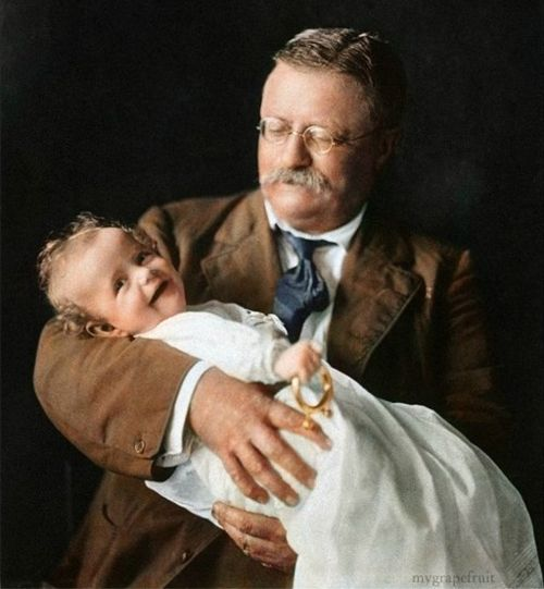"""Theodore Roosevelt holding grandson Kermit Roosevelt Jr, 1916. """"Character, in the long run, is the decisive factor in the life of an individual and of nations alike."""""""