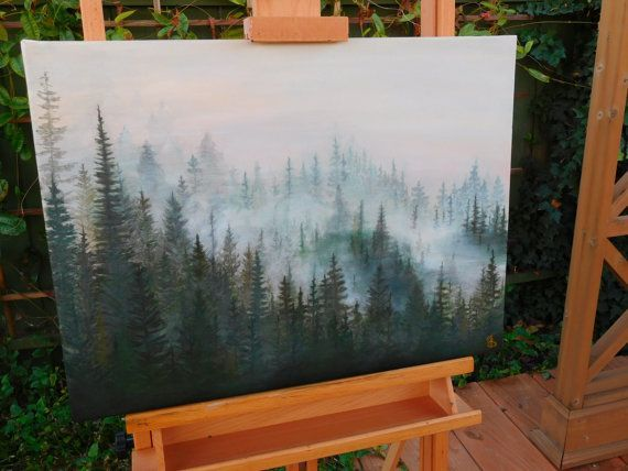 Misty Pines Painting Original, Forest painting, Pine Tree Painting, Tree Painting