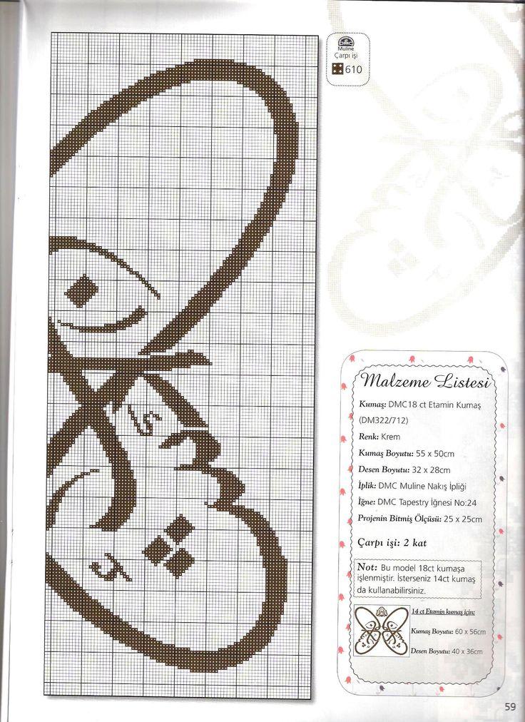 kaneviçe dergisi hat yazısı 'maşAllah' 2 crosstitch