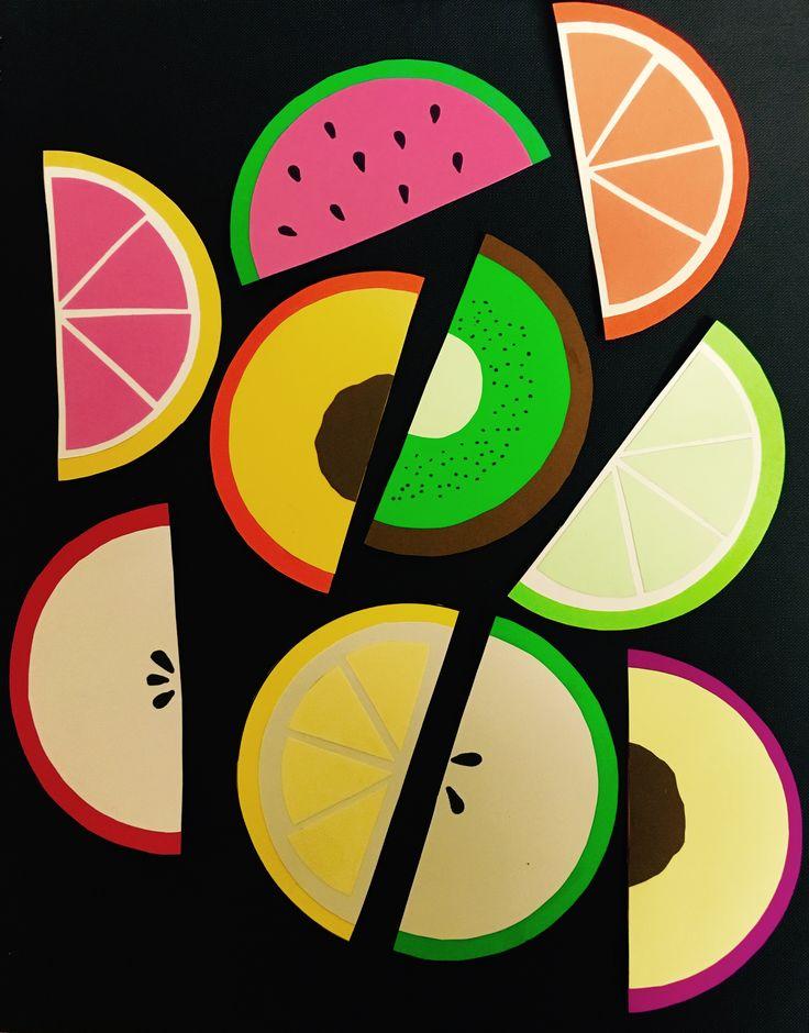Fruit shaped door decs ! There's apples, a peach, a lime, a lemon, a grapefruit, an orange, a plum, a kiwi, and a watermelon.