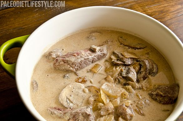 Beef Stroganoff  Ingredients  See more http://folklecontrade.com/paleo-diet  1 lb top sirloin steak, cut into strips;  6 tbsp butter, clarified butter or other paleo cooking fat, divided;  1 medium onion, chopped;  8 oz mushrooms, sliced;  2 cloves garlic, minced;  1/4 cup dry white wine;  1 cup beef stock;  1 cup coconut milk;  1 tbsp fresh parsley, finely chopped;  Sea salt and freshly ground black pepper to taste;