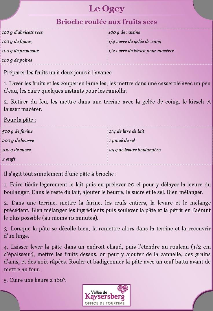 Recette du #Ogey (Brioche roulée aux fruits secs) - Plus de recettes sur http://www.kaysersberg.com/gastronomie/recettes.htm