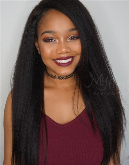 Doris – Malaysian KINKY STRAIGHT HAIR Full Lace Wig - MFK001