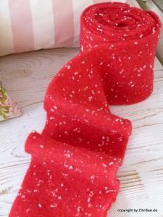 Filzband rot mit Tupfen weich