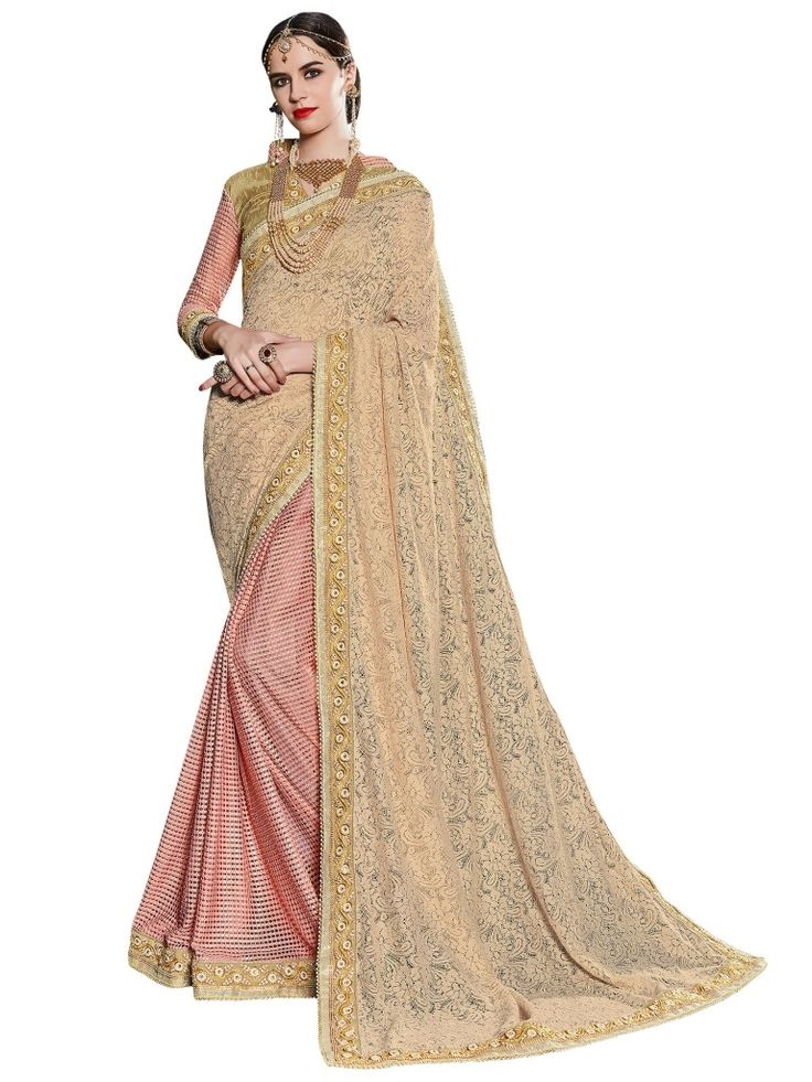 Indian Women Beige And Pink Fancy And Fancy Silk Saree