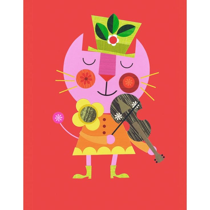 Oopsy Daisy the Cat and the Fiddle Stretched Canvas Wall Art