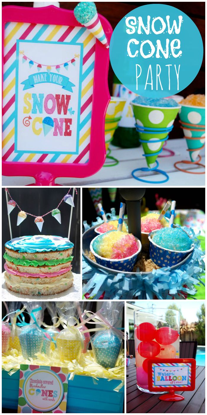 This fun Snow Cone birthday party features a sprinkle layer cake, water balloon game and lots of treats!  See more party ideas at CatchMyParty.com!