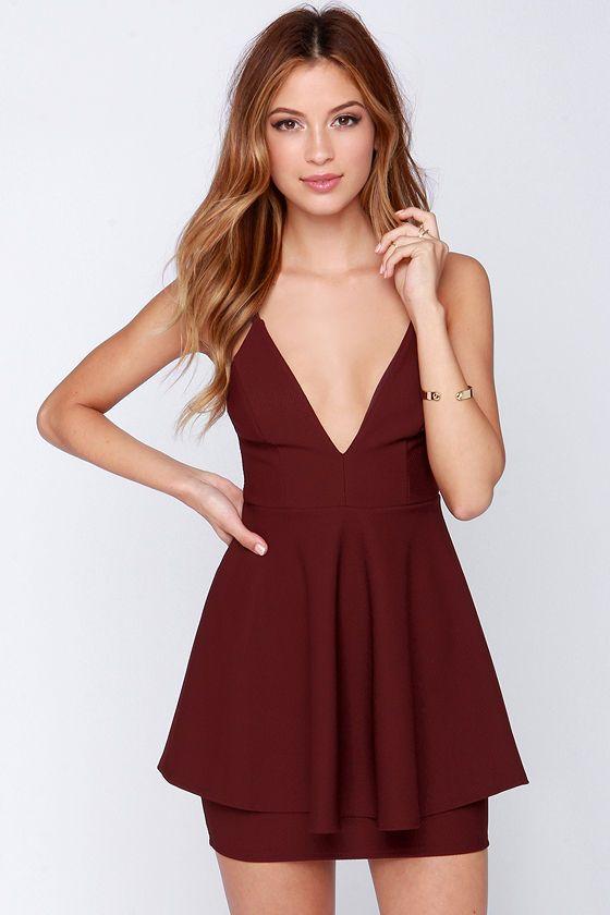 LULUS Exclusive Shoot to Score Burgundy Dress at Lulus.com!