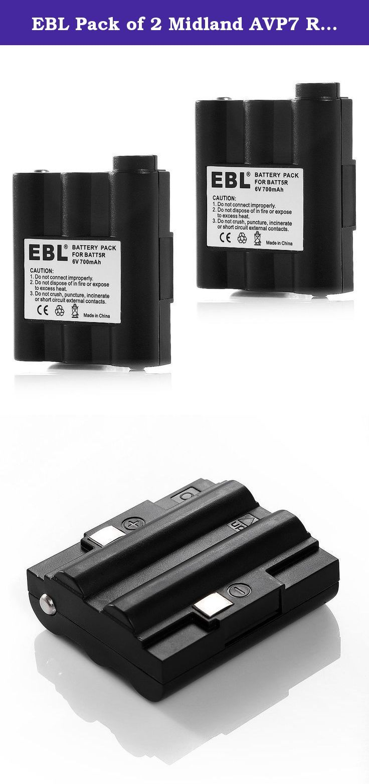 Midland AVP7 Rechargeable Battery Packs for Midland HH54 XT511 and GXT Series GMRS Radios Pair