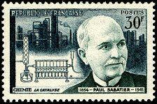 Paul Sabatier 1854-1941 Chimie: la catalyse Deuxième série des savants et inventeurs - Timbre de 1956