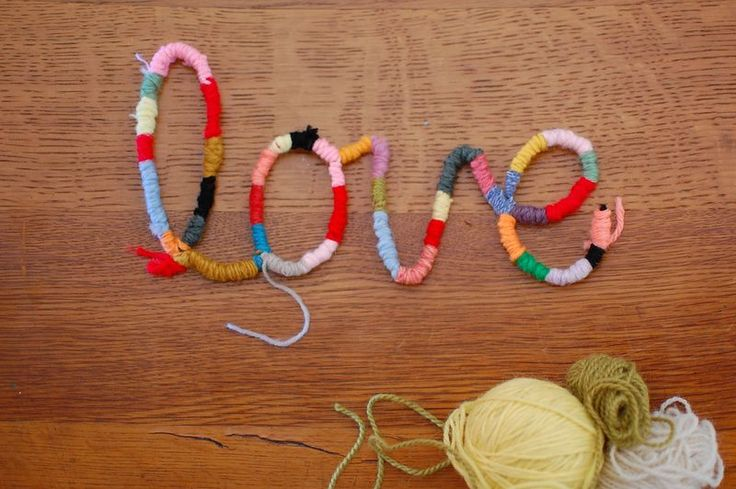 words from pipe cleaners wrapped in yarn