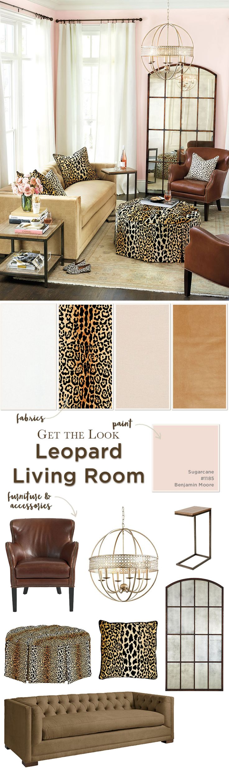Pink and leopard print living room