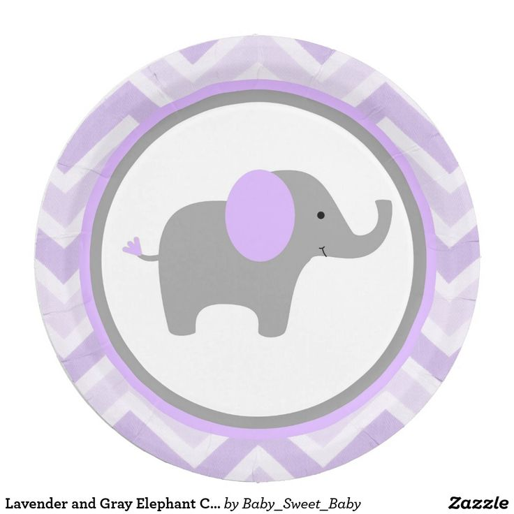 Lavender and Gray Elephant Chevron Paper Plates
