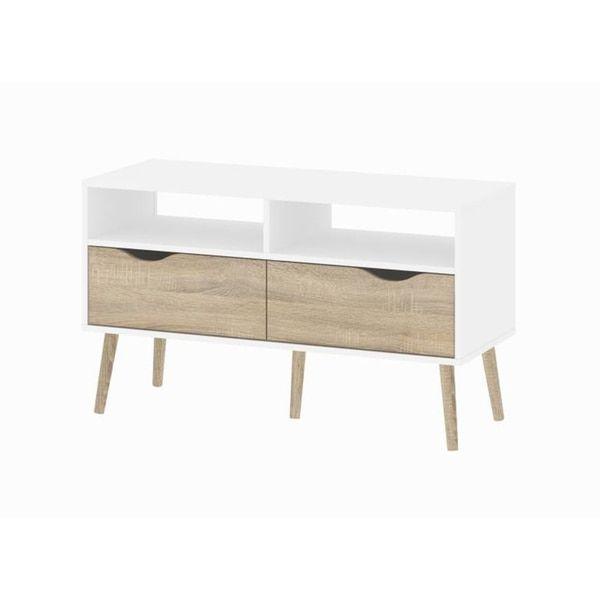 diana white 2shelf 2drawer oak tv stand