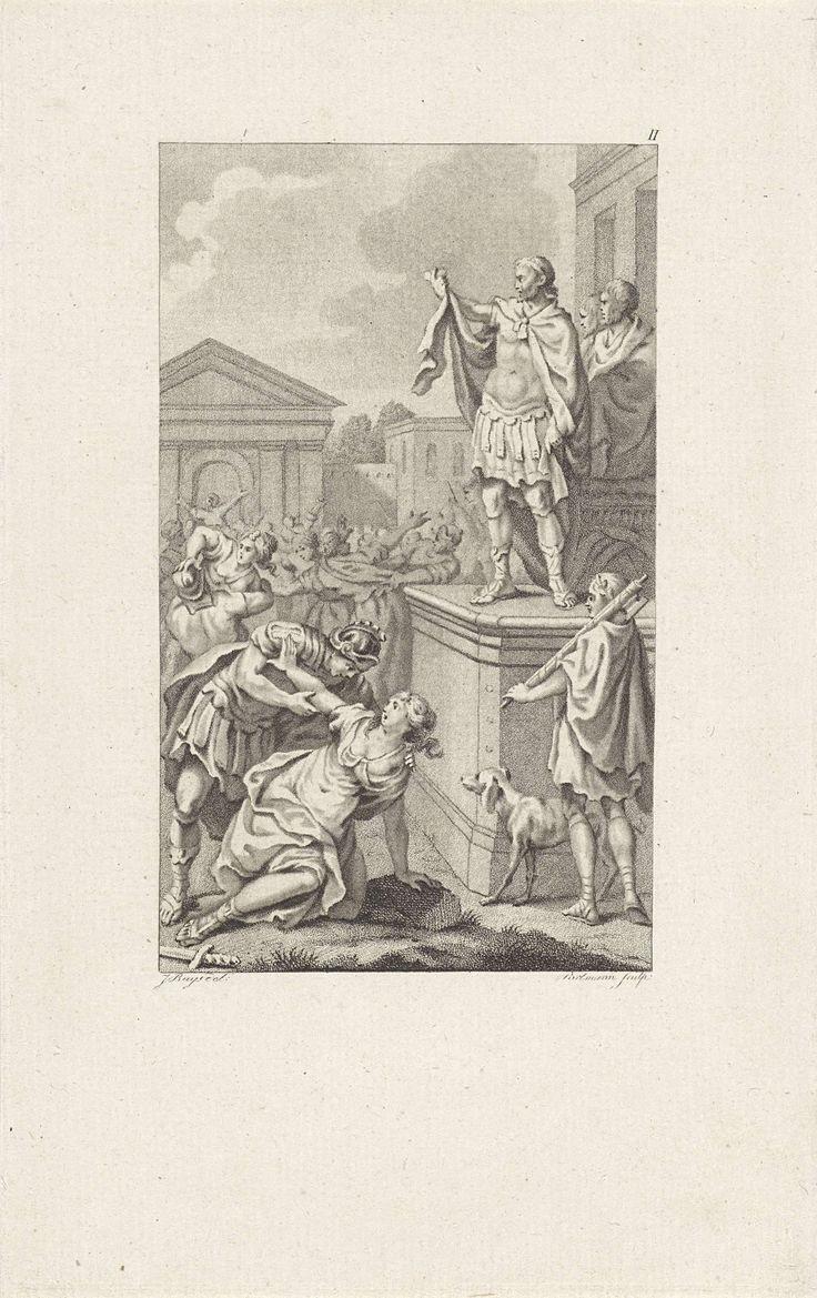 Ludwig Gottlieb Portman   Sabijnse maagdenroof, Ludwig Gottlieb Portman, 1793   Romeinse soldaten grijpen de ongehuwde Sabijnse maagden vast en trachten hen mee te nemen naar Rome. Rechts op een verhoging staat Romulus, die zijn soldaten het teken geeft om de maagden weg te voeren.